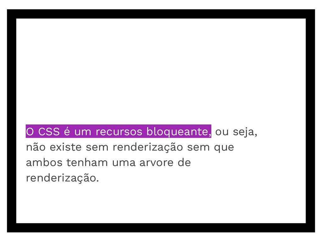 O CSS é um recursos bloqueante, ou seja, não ex...