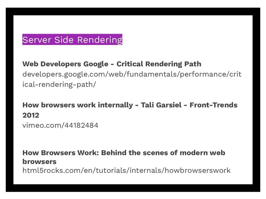 Server Side Rendering Web Developers Google - C...