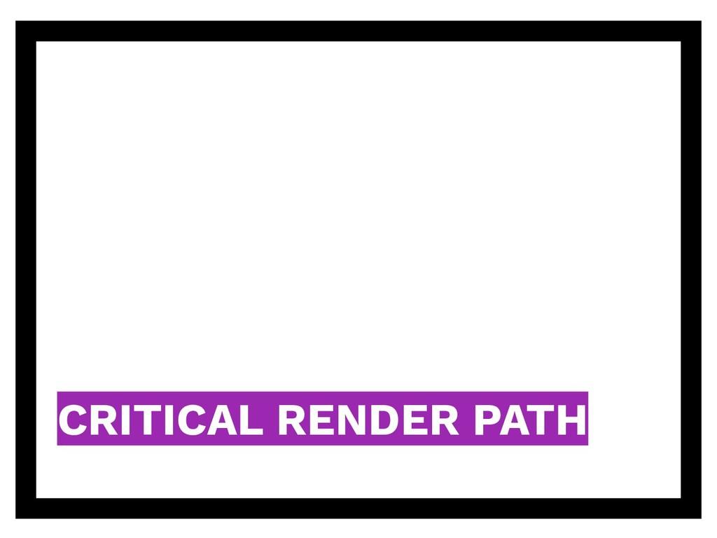 CRITICAL RENDER PATH