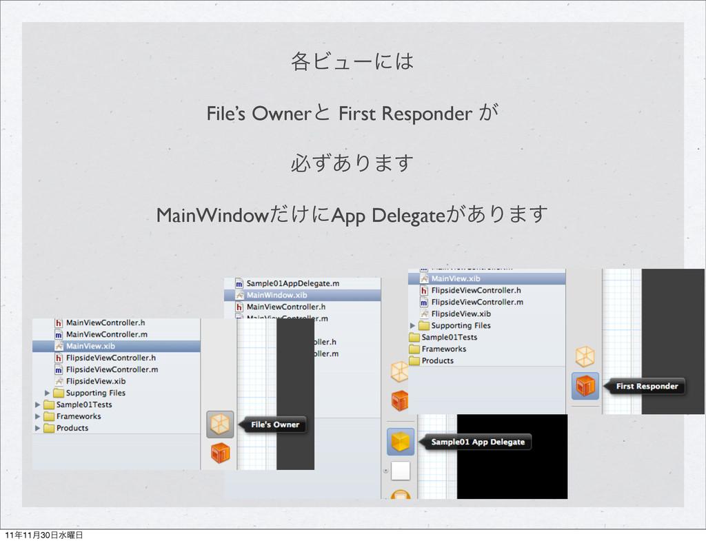֤Ϗϡʔʹ File's Ownerͱ First Responder ͕ ඞͣ͋Γ·͢ M...