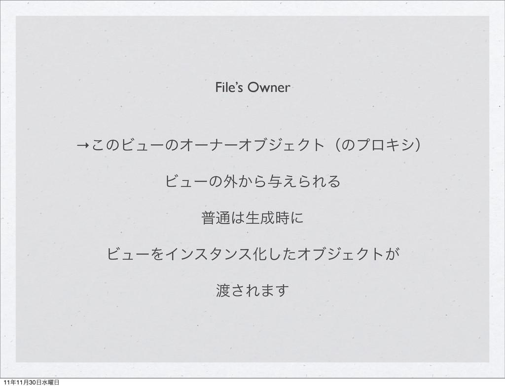 File's Owner →͜ͷϏϡʔͷΦʔφʔΦϒδΣΫτʢͷϓϩΩγʣ Ϗϡʔͷ֎͔Β༩͑...