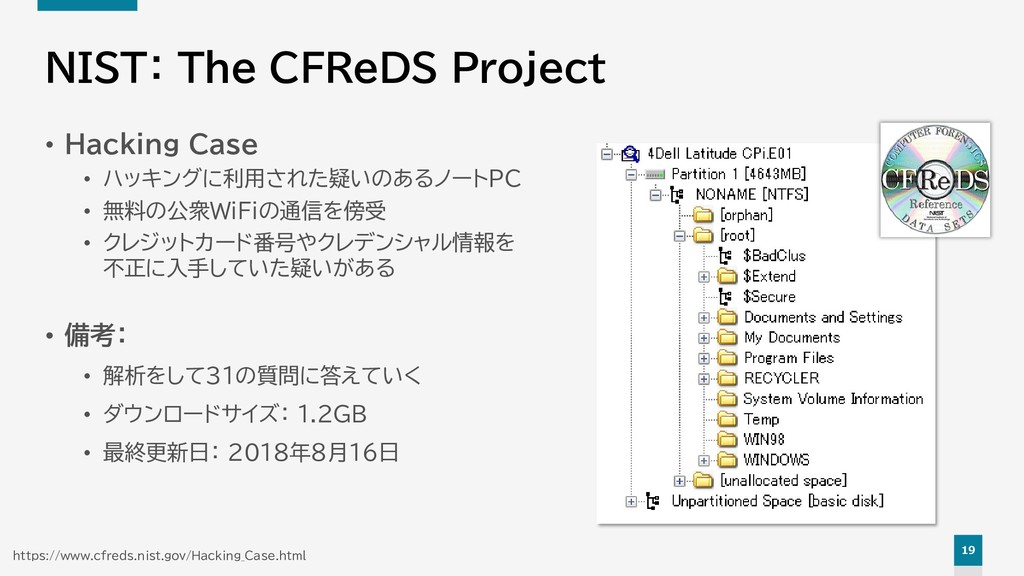 19 NIST: The CFReDS Project • Hacking Case • ハッ...