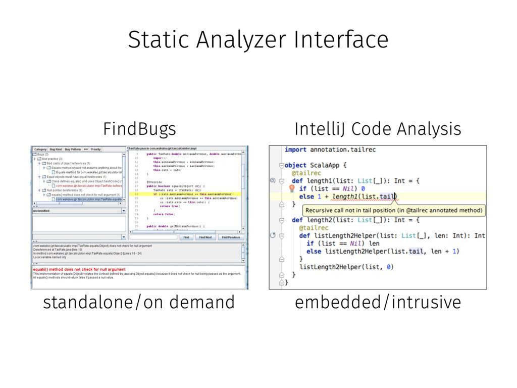 Static Analyzer Interface FindBugs IntelliJ Cod...