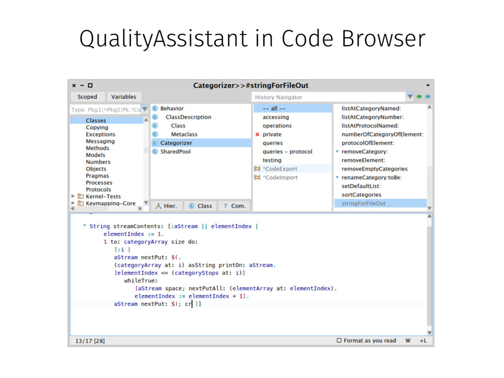 QualityAssistant in Code Browser