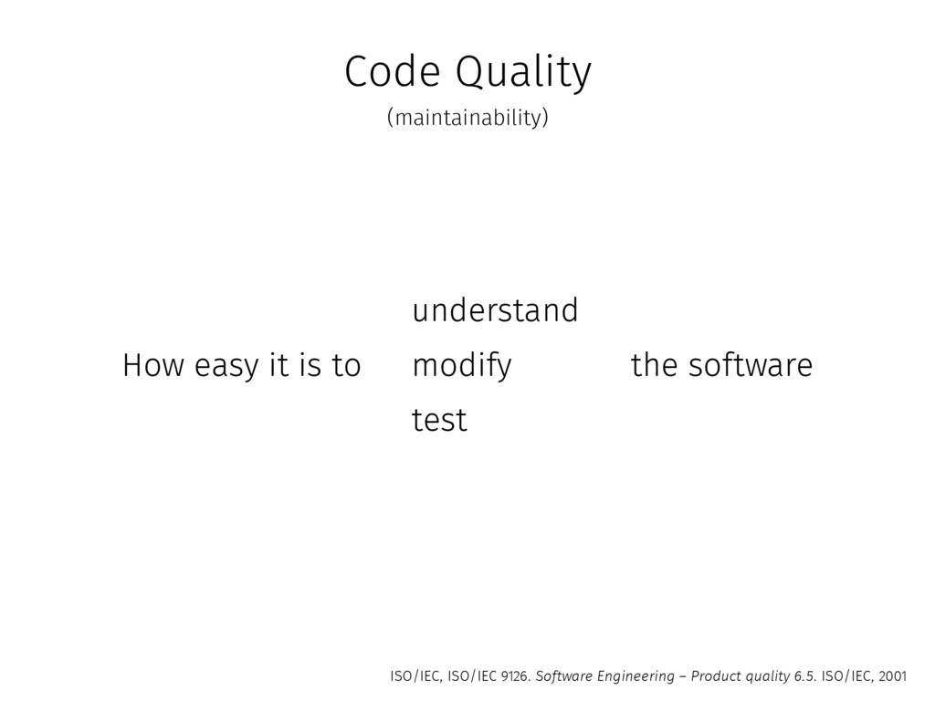 Code Quality How easy it is to understand modif...