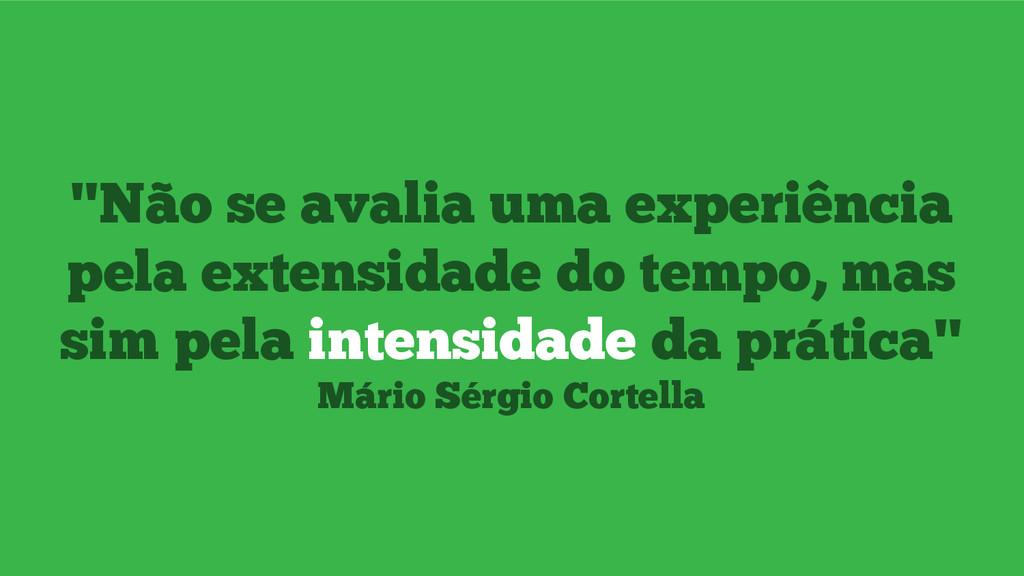 """""""Não se avalia uma experiência pela extensidade..."""