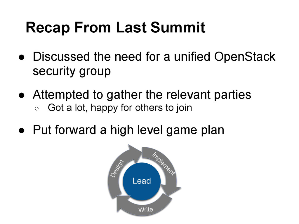 Recap From Last Summit ● Discussed the need for...