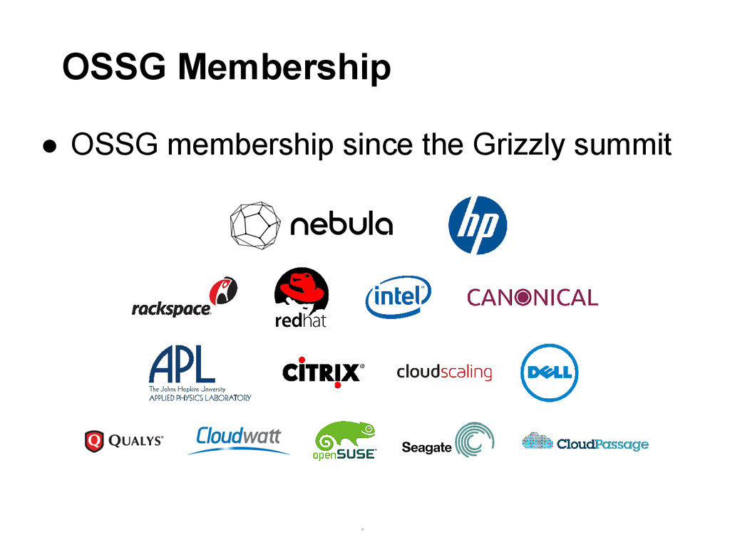 ● OSSG membership since the Grizzly summit * * ...