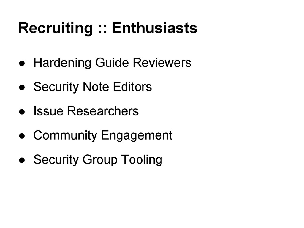 Recruiting :: Enthusiasts ● Hardening Guide Rev...