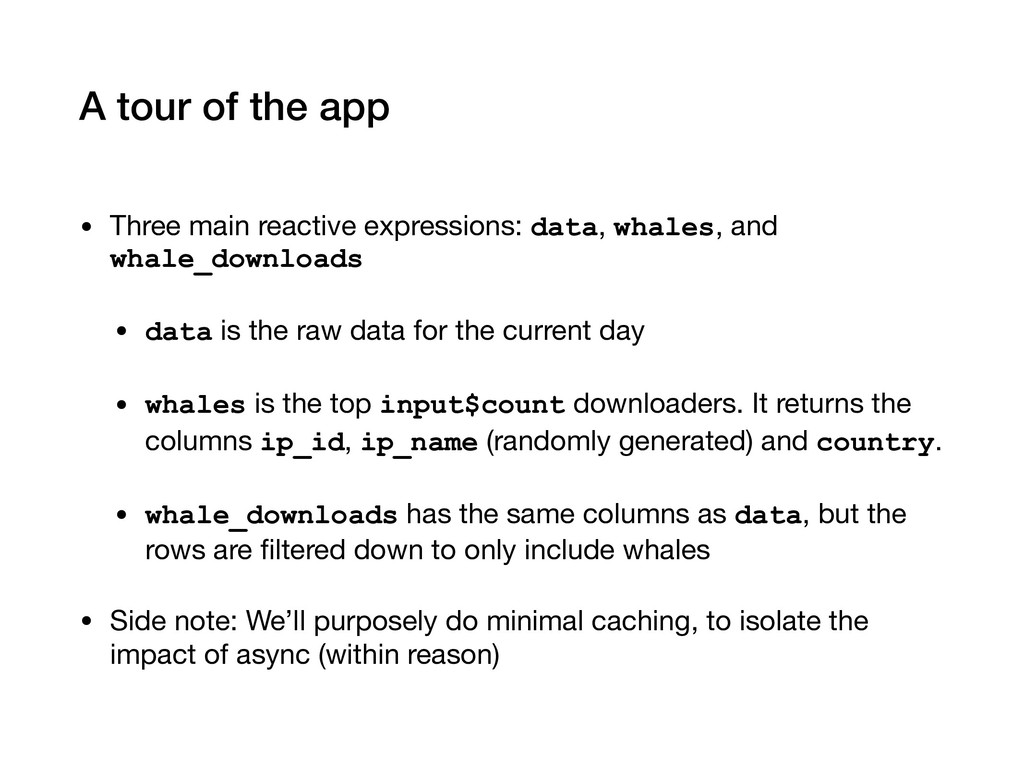 A tour of the app • Three main reactive express...