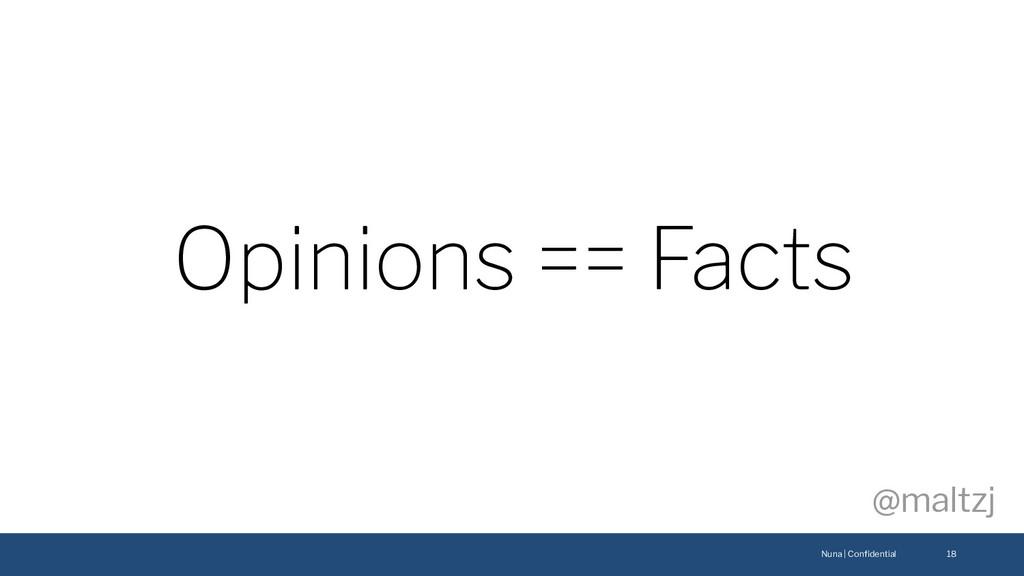 Nuna | Confidential @maltzj 18 Opinions == Facts