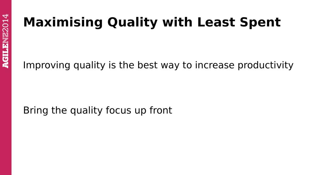 Maximising Quality with Least Spent Improving q...