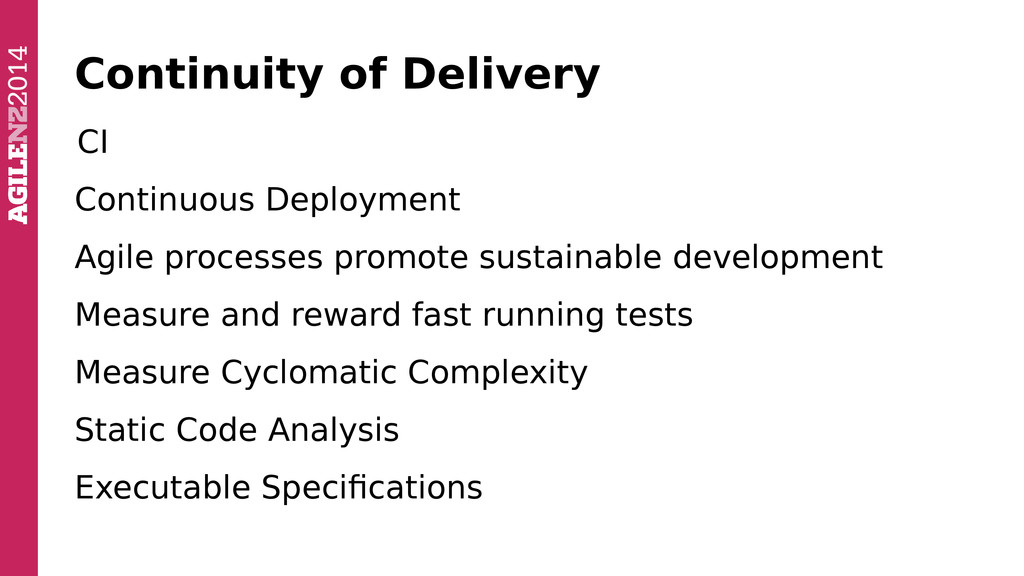 Continuity of Delivery CI Continuous Deployment...