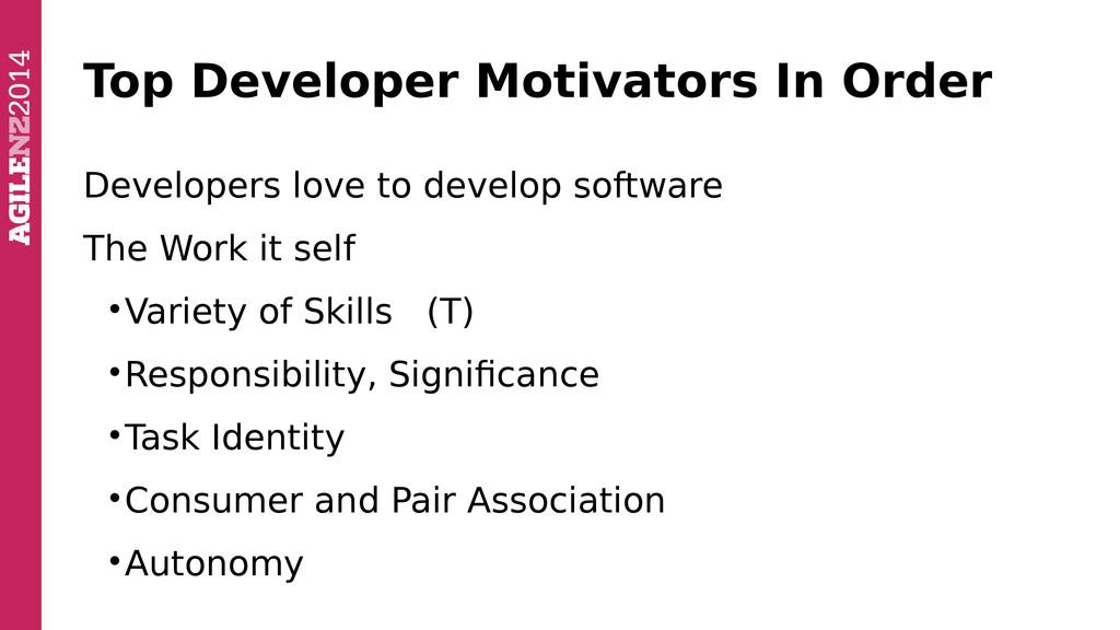 Top Developer Motivators In Order Developers lo...