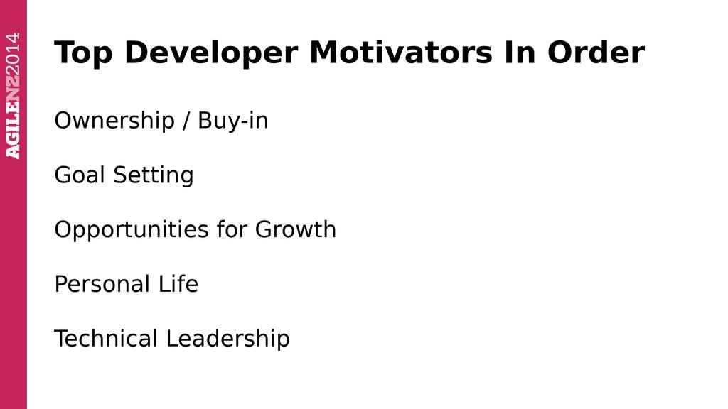Top Developer Motivators In Order Ownership / B...