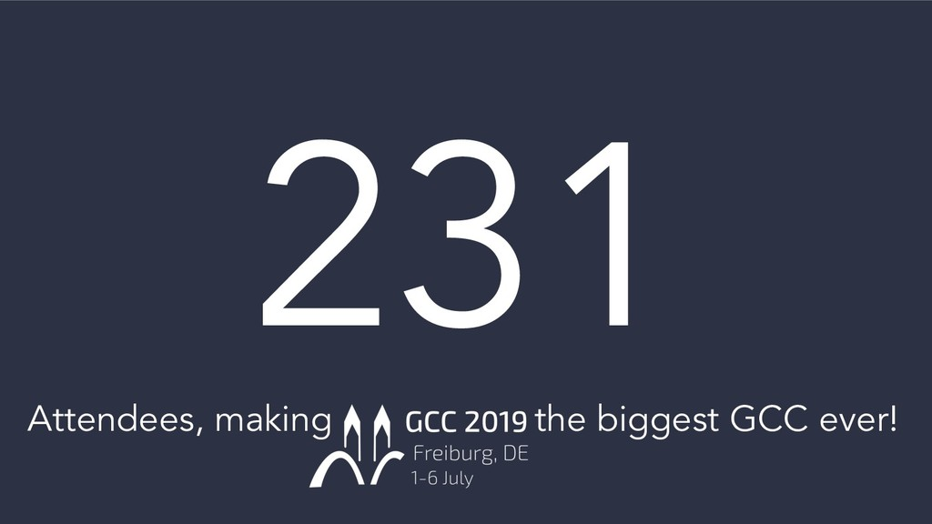 231 Attendees, making the biggest GCC ever!