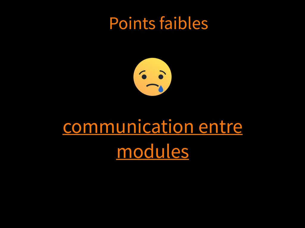 communication entre modules Points faibles