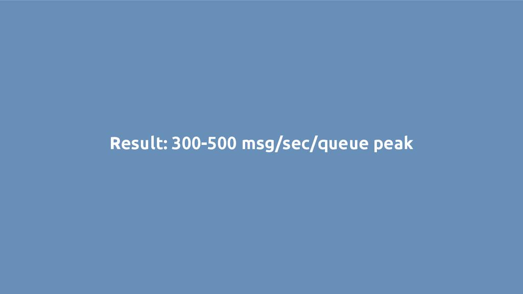 Result: 300-500 msg/sec/queue peak