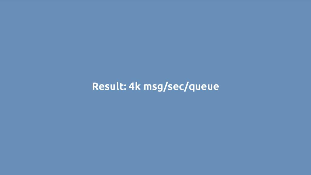 Result: 4k msg/sec/queue