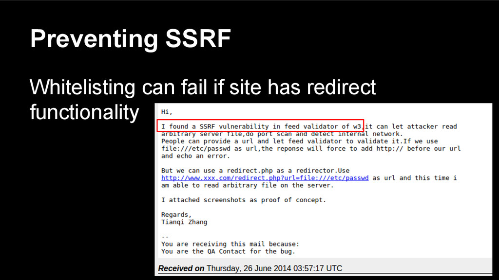 Preventing SSRF Whitelisting can fail if site h...