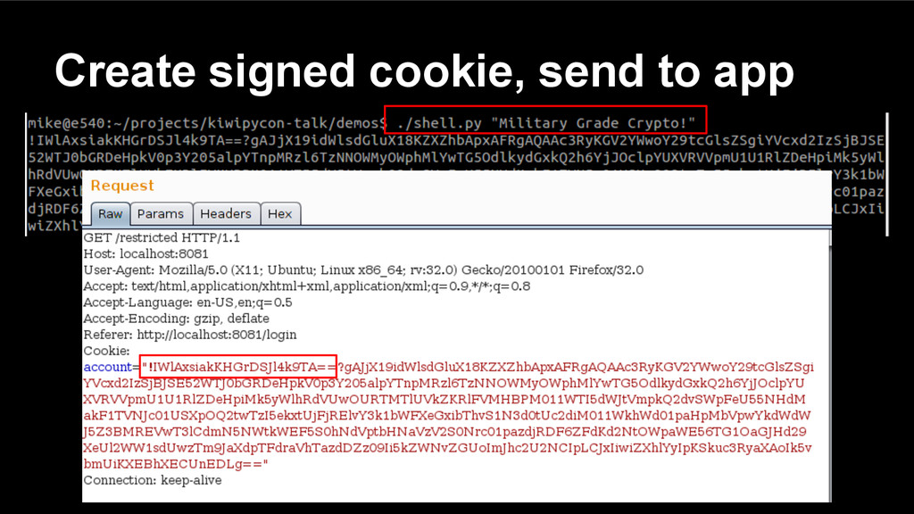 Create signed cookie, send to app