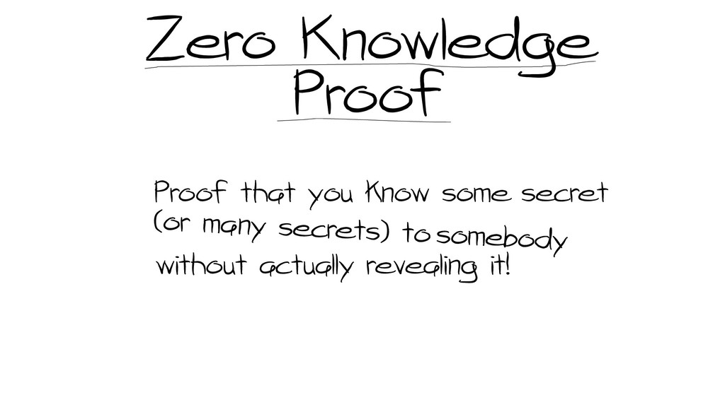 Zero Knowledge Proof Proof that you know some s...