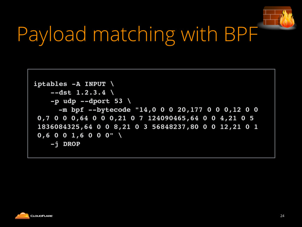 Payload matching with BPF 24 ! iptables -A INPU...
