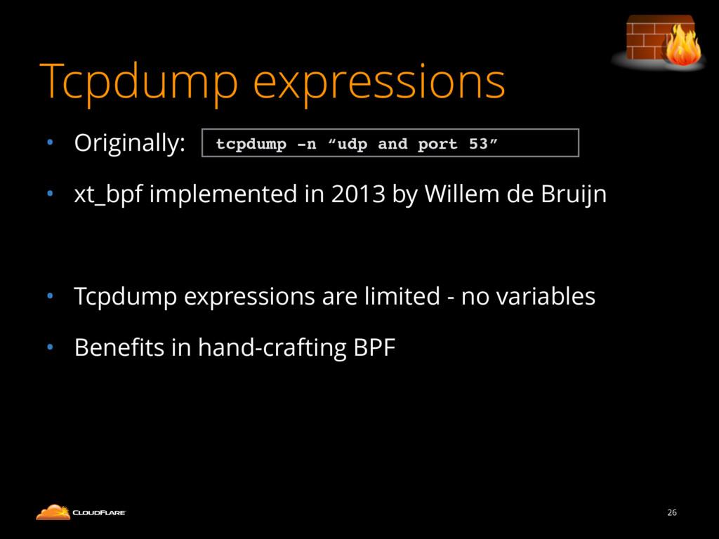 Tcpdump expressions • Originally: • xt_bpf impl...