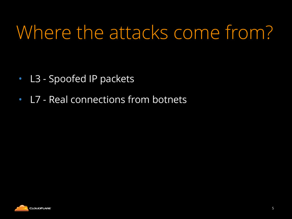 Where the attacks come from? ! • L3 - Spoofed I...