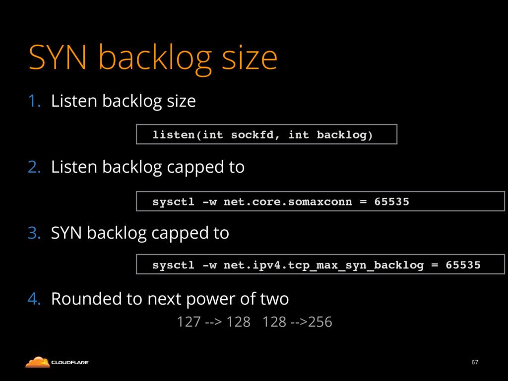SYN backlog size 1. Listen backlog size ! 2. Li...