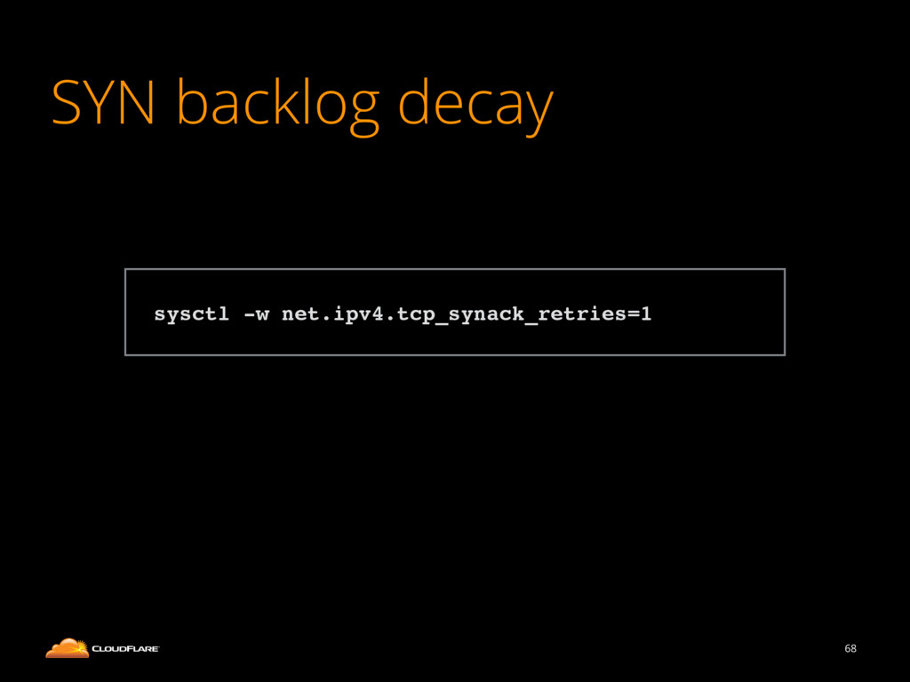 SYN backlog decay 68 ! sysctl -w net.ipv4.tcp_s...