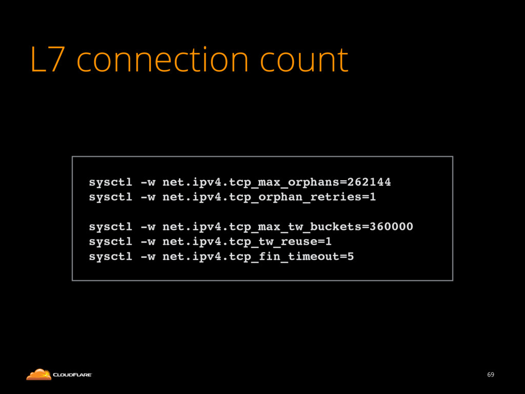 L7 connection count 69 ! sysctl -w net.ipv4.tcp...