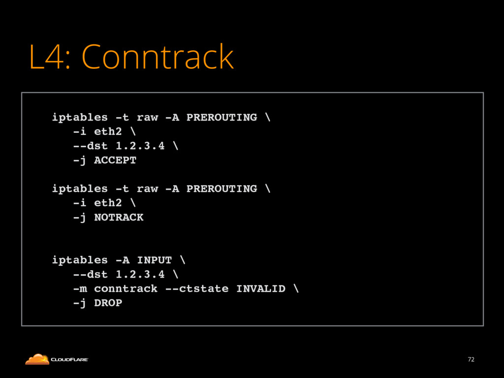 L4: Conntrack 72 ! iptables -t raw -A PREROUTIN...