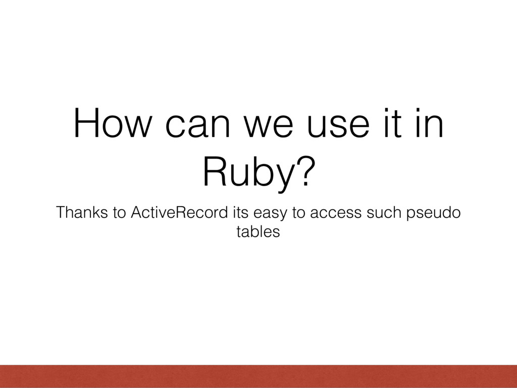 How can we use it in Ruby? Thanks to ActiveReco...