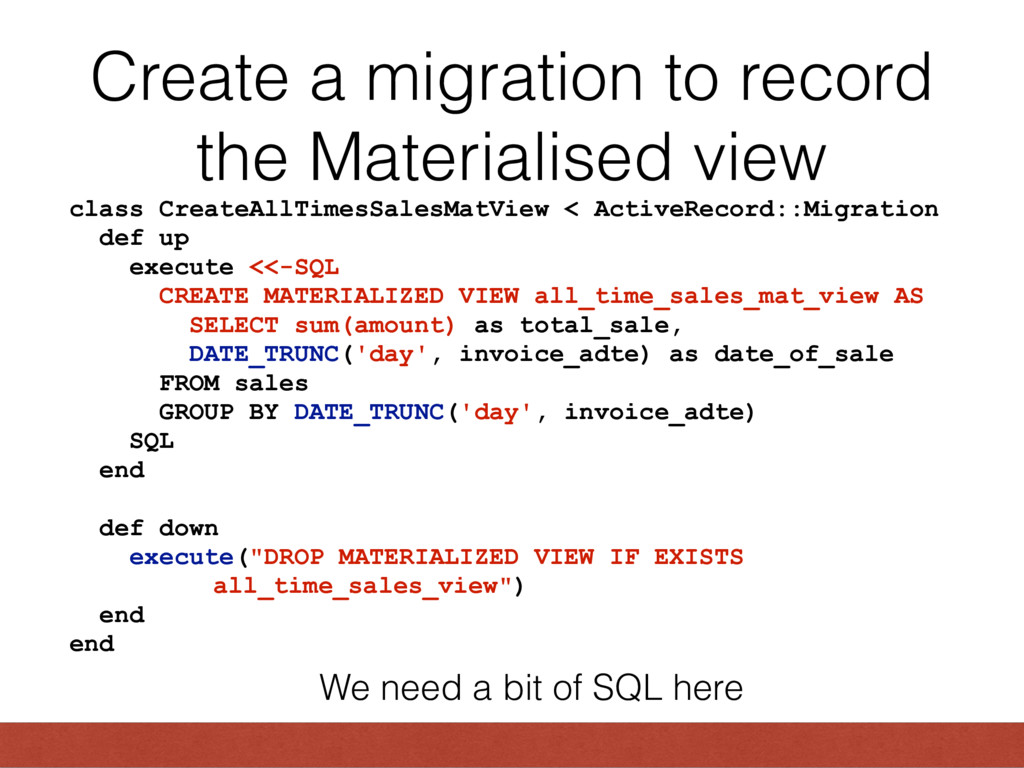 Create a migration to record the Materialised v...