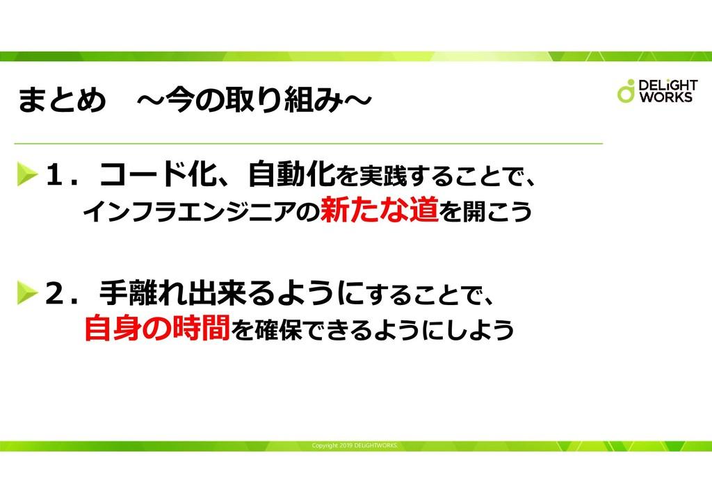 Copyright 2019 DELiGHTWORKS. まとめ ~今の取り組み~ 1.コード...
