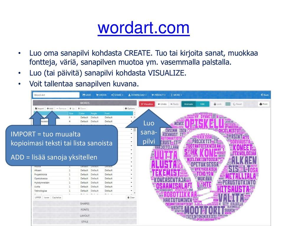 wordart.com • Luo oma sanapilvi kohdasta CREATE...