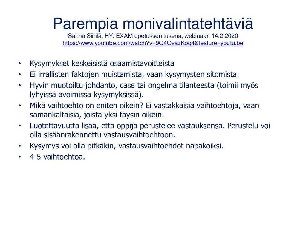 Parempia monivalintatehtäviä Sanna Siirilä, HY:...