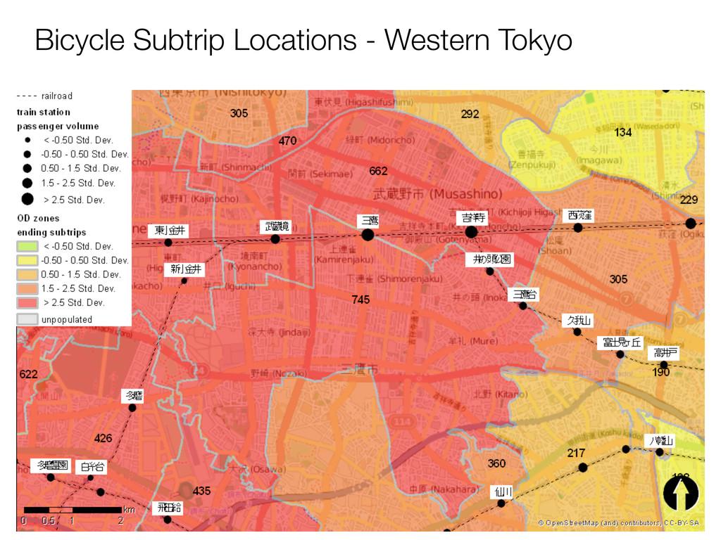 Bicycle Subtrip Locations - Western Tokyo