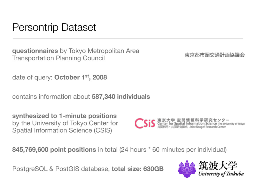 Persontrip Dataset questionnaires by Tokyo Metr...