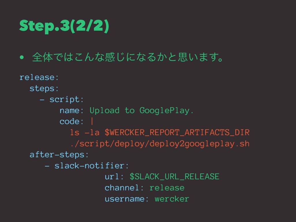 Step.3(2/2) • શମͰ͜Μͳײ͡ʹͳΔ͔ͱࢥ͍·͢ɻ release: step...
