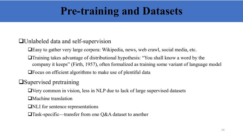Pre-training and Datasets qUnlabeled data and s...