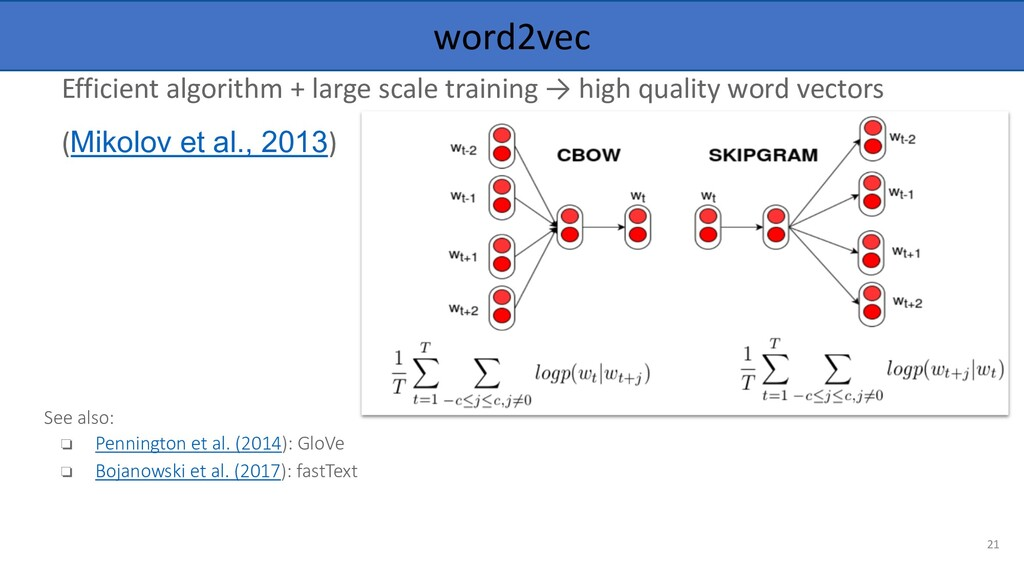 word2vec Efficient algorithm + large scale trai...