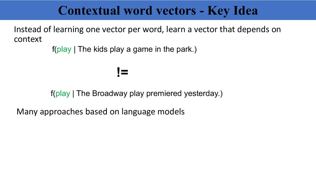 Contextual word vectors - Key Idea Instead of l...