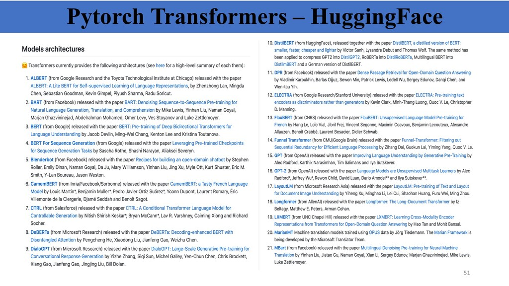 Pytorch Transformers – HuggingFace 51