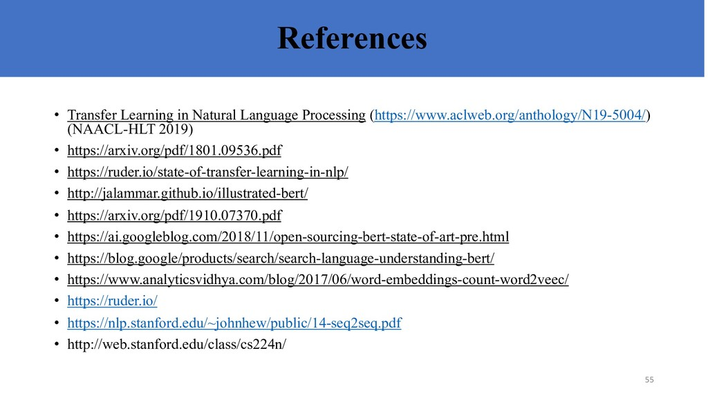 References • Transfer Learning in Natural Langu...