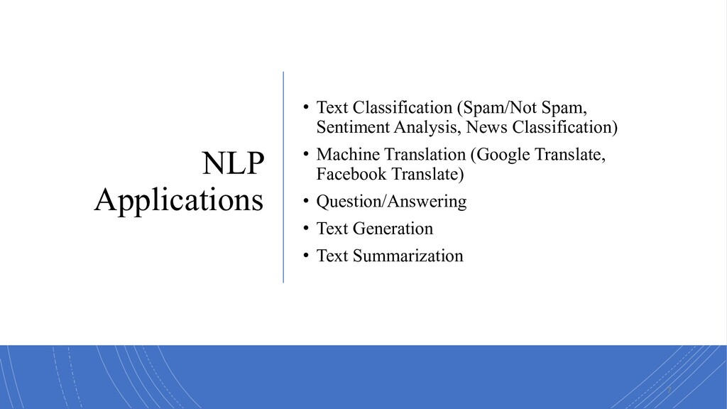 NLP Applications • Text Classification (Spam/No...