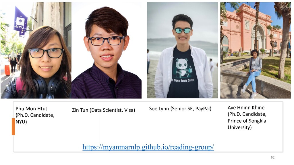 https://myanmarnlp.github.io/reading-group/ 62 ...