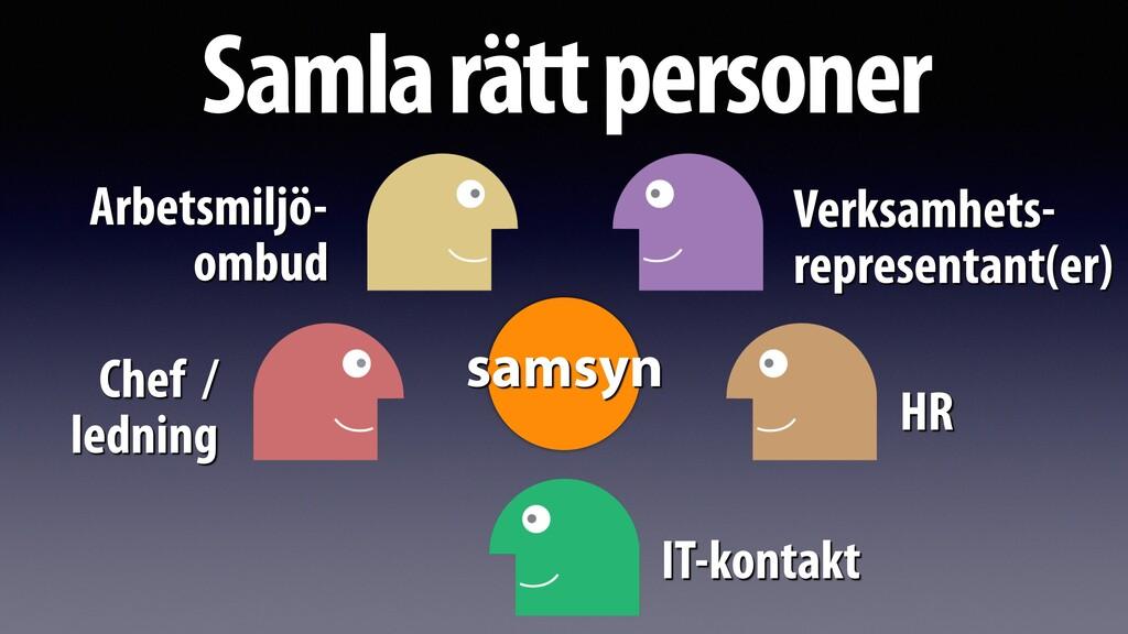 Samla rätt personer Arbetsmiljö- ombud Verksamh...