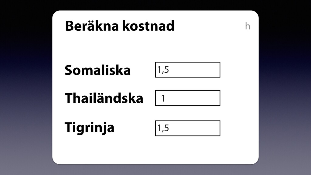Beräkna kostnad Somaliska Thailändska Tigrinja ...